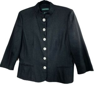 Ralph Lauren Linen Jacket Size 14 Black Crop Coat
